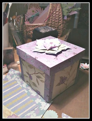 Exploding box made entirely of craft paper